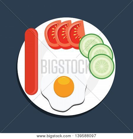 Top view eggs sausage tomato and cucambers on a white plate. Breakfast vector illustration.