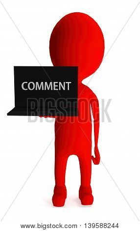3D Red Character Holding Laptop And Its Screen Showing Comment Text Concept