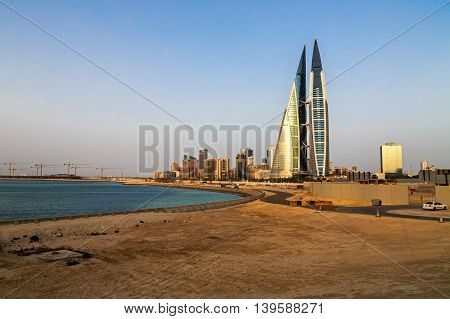 MANAMA, BAHRAIN - MAY 14, 2016: Beautiful view of the Seafront with the World Trade Center and other high rise buildings in the city.