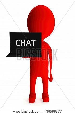 3D Red Character Holding Laptop And Its Screen Showing Chat Text Concept