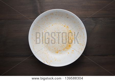 An empty plate dirty after the meal is finished