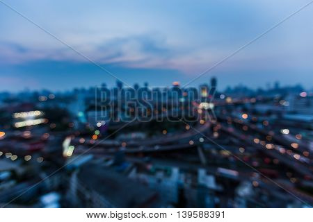 Twilight blurred light city downtown, abstract background