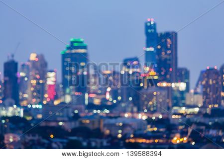 City blurred lights night view, abstract background