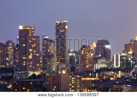 Blurred lights night view, city downtown background