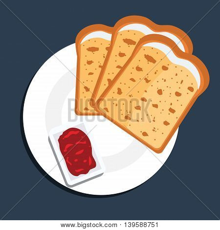 Vector illustration of toast bread slices on a plate with jam. Toast bread slices with top view and flat color style.
