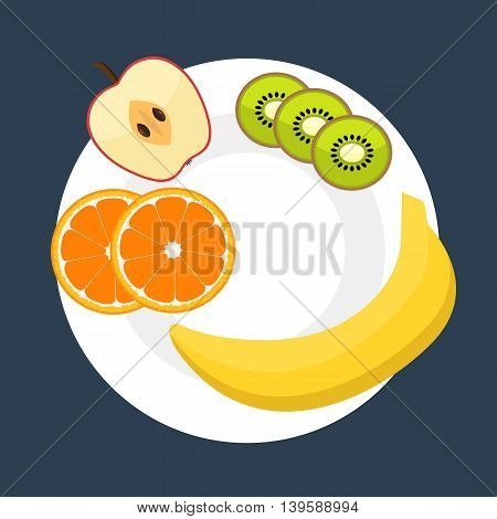 Diet vector flat style concept isolated on white background. Eating natural products fruits and vegetables. Apple banana orange kiwi on a plate. Healthy food consept. Healthy food mockup