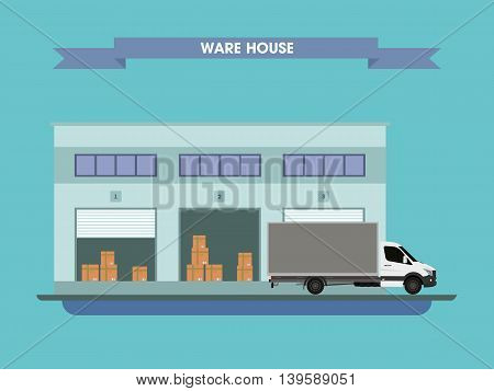 Truck on the background of the warehouse with the goods. Vector illustration