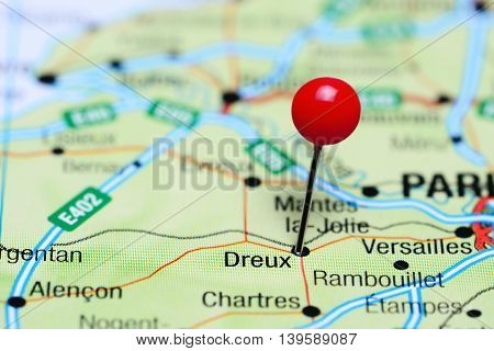 Dreux pinned on a map of France