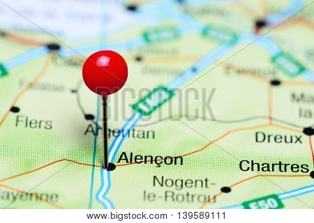 Alencon pinned on a map of France
