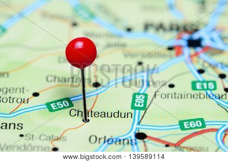 Chateaudun pinned on a map of France