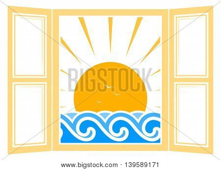 vector waves and sun outside the window isolated on white background