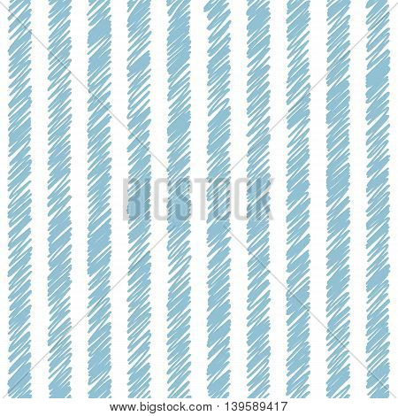 Vector vertical striped white and blue seamless pattern. Diagonal drawing of thin lines. Simple abstract geometric light ornamental illustration.