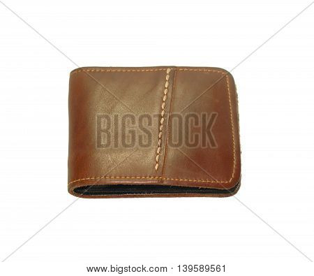 The leather wallet isolated on white background