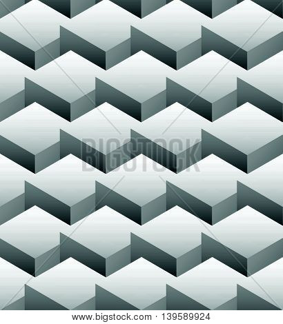 Grayscale Repeatable Pattern Made Of Isometric Cubes