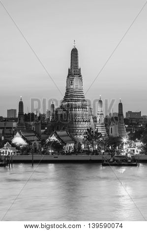 Black and White, Arun temple pagoda river front, Thailand landmark