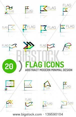 Flag icon logo collection, linear design
