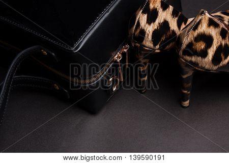 Pair of women shoes and handbag on black background,animal skins..