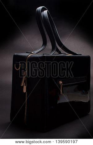 Leather bag ,Fashion concept ,Trendy black purse.
