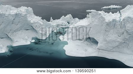 Glaciers are on the Arctic ocean, north pole to Ilulissat fjord, Greenland