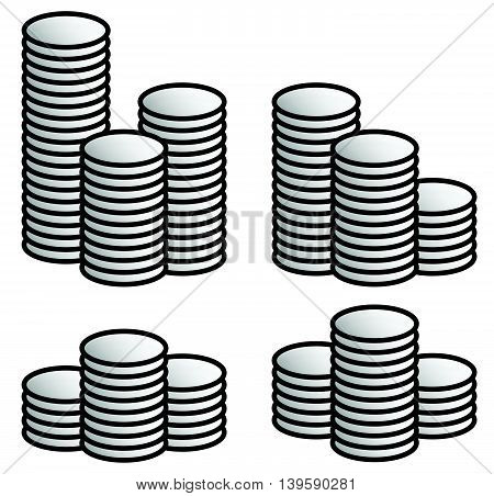 Stack Of Coins. Set Of 4 Versions.