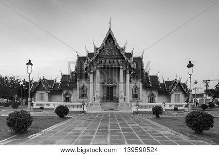 Black and White, Marble Temple, Bangkok Thailand landmark