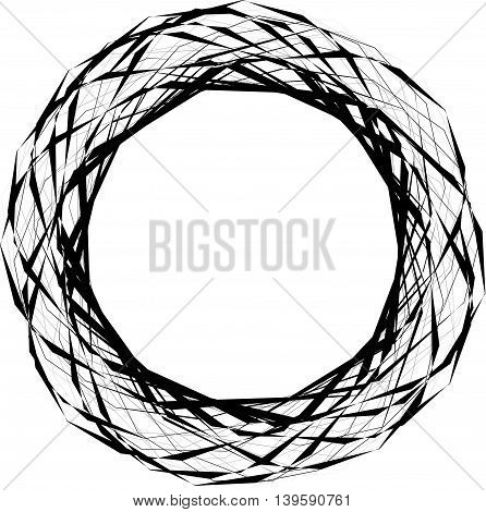 Abstract Edgy Circular Shape, Element Isolated On White. Random Geometric Lines Forming A Circle.
