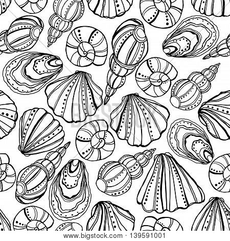 Seamless pattern with cute shells, drawn with pen and ink.