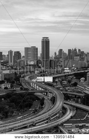 Black and White, City downtown background and elevated road intersection, long exposure