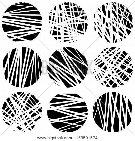 Circles With Random Chaotic, Irregular Straight Lines. Dynamic Lines Clipped In Circles.