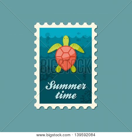 Sea turtle vector stamp. Beach. Summer. Summertime. Holiday. Vacation eps 10