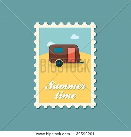 Camping trailer vector stamp. Beach. Summer. Summertime. Holiday. Vacation eps 10