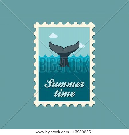 Whale tail vector stamp. Beach. Summer. Summertime. Holiday. Vacation eps 10