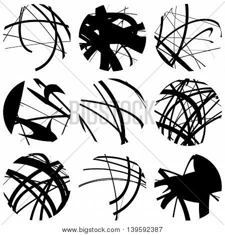Set Of Squiggle, Squiggly Line Circles. 9 Different Variation. Abstract Geometric, Monochrome Illust