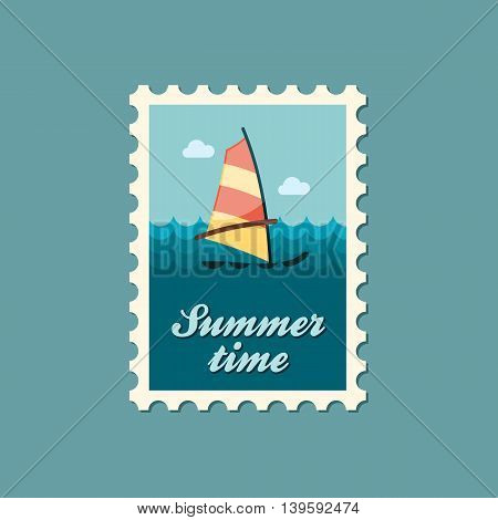 Board Windsurfing vector stamp. Beach. Summer. Summertime. Holiday. Vacation eps 10