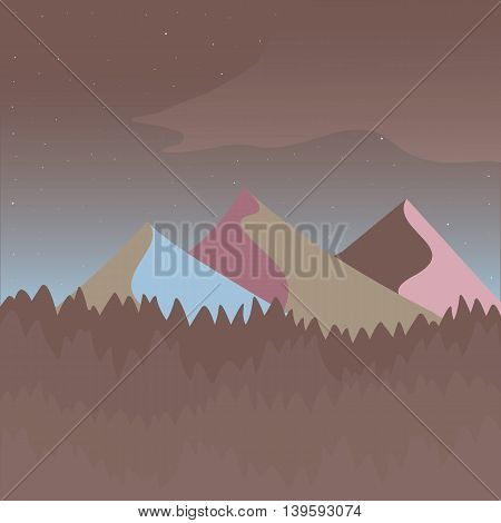 Pink and brown mountain landscape. Flat simple and nice art