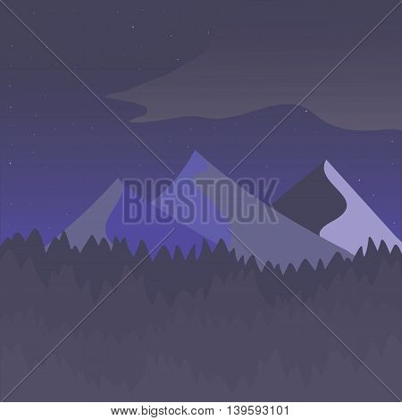 Violet and gray mountain landscape. Flat simple and nice art