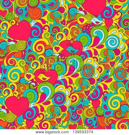 Bright seamless pattern for Valentine's day with hearts, birds and spirals.