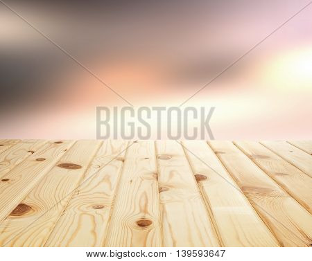 Empty wooden table vor the product display montage