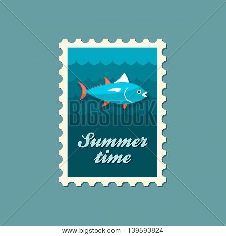 Tuna vector stamp. Fishing. Summer. Summertime. Holiday. Vacation eps 10