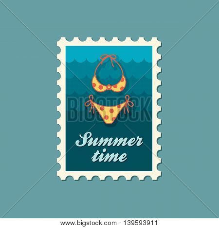Swimsuit vector stamp. Beach. Summer. Summertime. Holiday. Vacation ride water sport eps 10