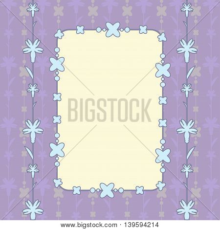 purple card with floral ornament and beads