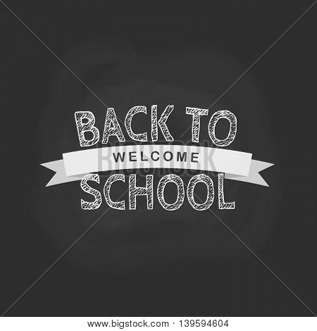 Vector back to school concept in flat style. Chalk and the words on the black board background.