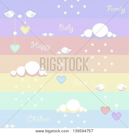Seamless background. Depicted clouds with flowers instead of drops, birds holding a dangling heart and the words family, baby, children, happy, love on a colored background