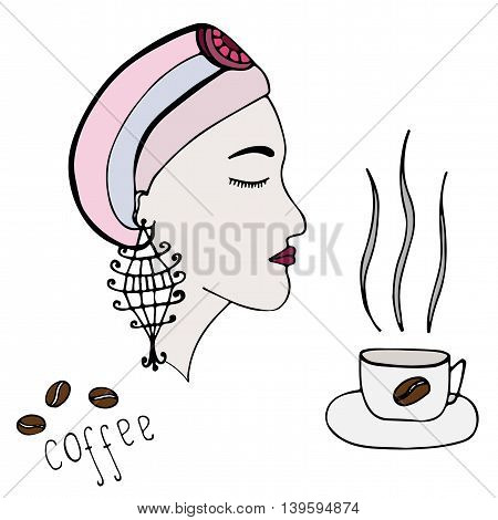 Beautiful girl with cup of coffee isolated on the white background