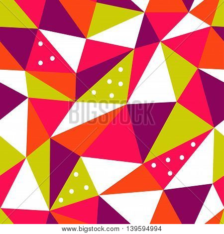 Seamless bright geometric pattern of pink, green, red, white and purple triangles.