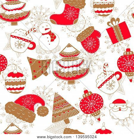 Bright seamless pattern for Christmas with gold snowflakes, trees, mittens, boots, snowman and gifts.