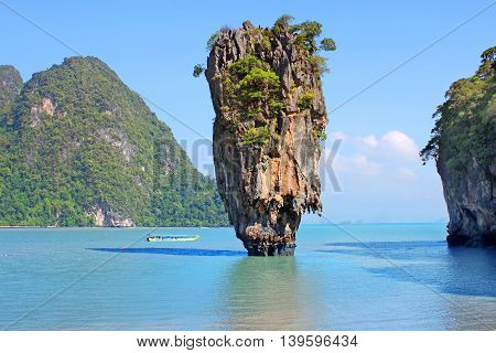 Clear water and blue sky.View from Khao Phing Kan, showing Ko Tapu, Thailand