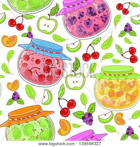 Seamless pattern with banks cherry, orange and berry jam, apples, berries, cherries and leaves on a white background.