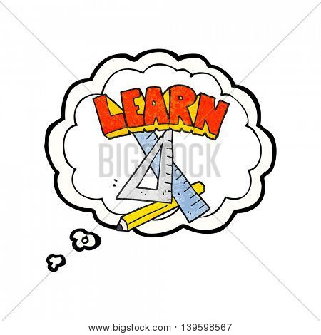 freehand drawn thought bubble textured cartoon pencil and ruler under Learn symbol