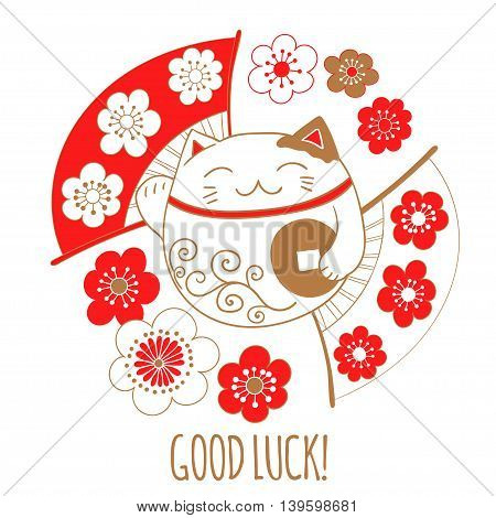 Cute greeting card with a white cat, lucky, Maneki Neko. Kitty is holding a coin that symbolizes wishes for the financial well-being.